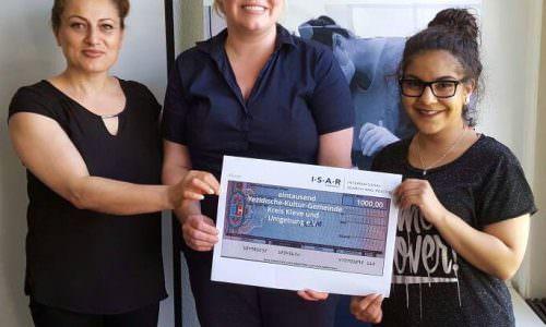 I.S.A.R. Germany überreicht Spendenscheck an Yezischen Gemeinde Kleve